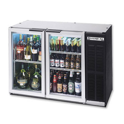 "Beverage Air BB48GYF-1-S-27 48"" (2) Section Bar Refrigerator - Swinging Glass Doors, 115v"