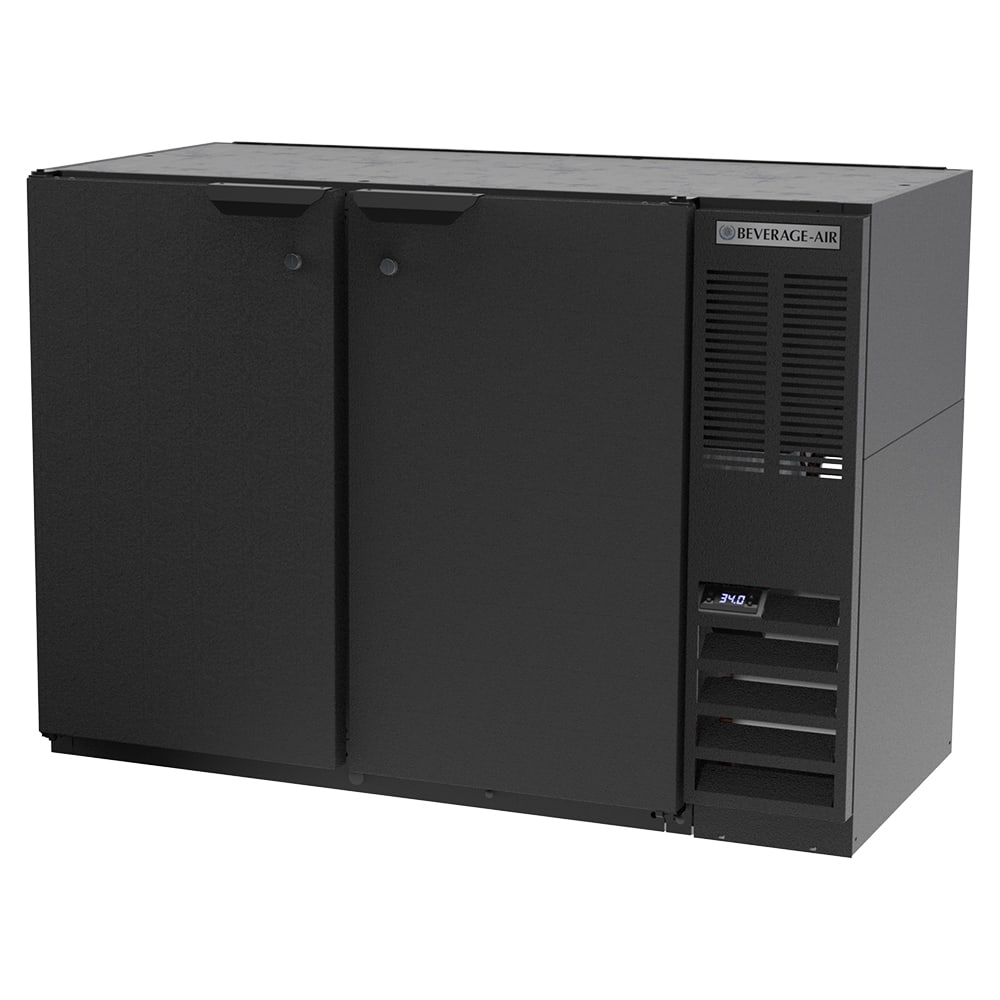 "Beverage Air BB48HC-1-B 48"" (2) Section Bar Refrigerator - Swinging Solid Doors, 115v"