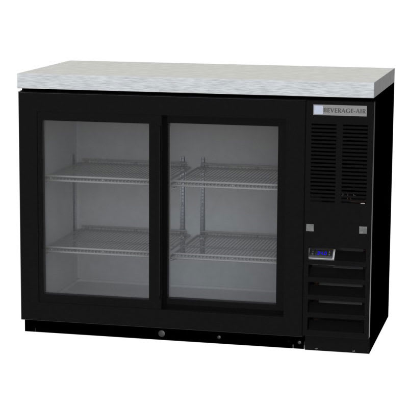 "Beverage Air BB48HC-1-F-GS-S 48"" (2) Section Bar Refrigerator - Sliding Glass Doors, 115v"