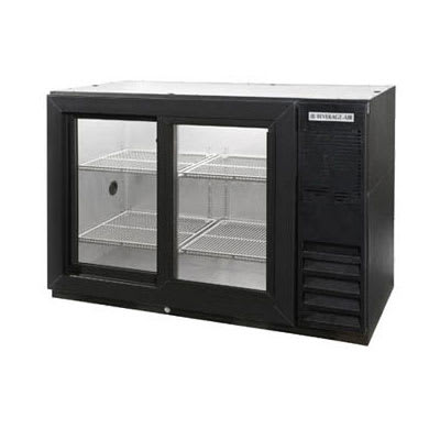 "Beverage Air BB48HC-1-F-GS-S-27 48"" (2) Section Bar Refrigerator - Sliding Glass Doors, 115v"