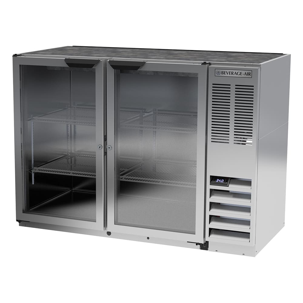 "Beverage Air BB48HC-1-G-S 48"" (2) Section Bar Refrigerator - Swinging Glass Doors, 115v"