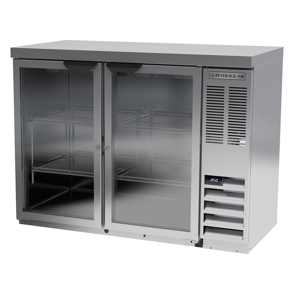 "Beverage Air BB48HC-1-G-S-27 48"" (2) Section Bar Refrigerator - Swinging Glass Doors, 115v"