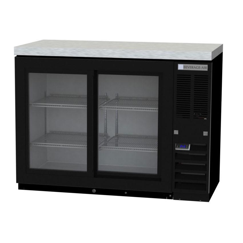 "Beverage Air BB48HC-1-GS-B-27 48"" (2) Section Bar Refrigerator - Sliding Glass Doors, 115v"