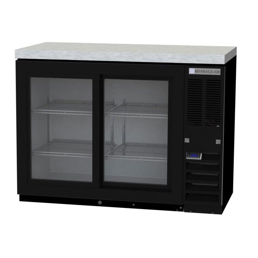 "Beverage Air BB48HC-1-GS-S-27 48"" (2) Section Bar Refrigerator - Sliding Glass Door, 115v"