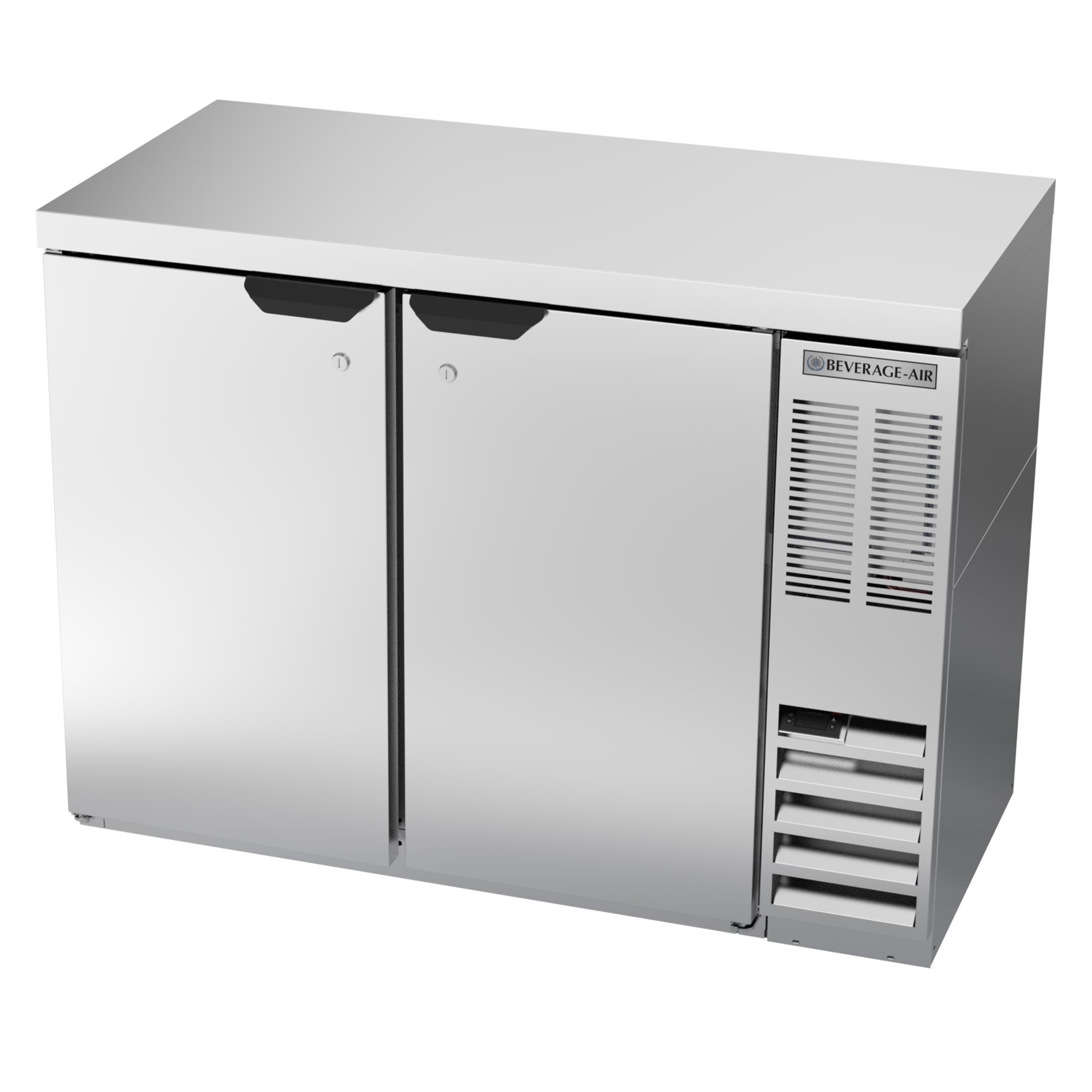 "Beverage Air BB48HC-1-S-27 48"" (2) Section Bar Refrigerator - Swinging Solid Door, 115v"