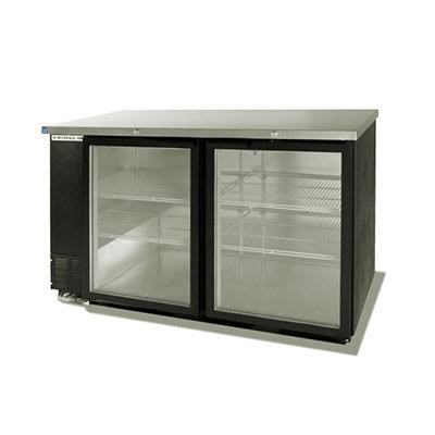 "Beverage Air BB58GF-1-S 58"" (2) Section Bar Refrigerator - Swinging Glass Doors, 115v"