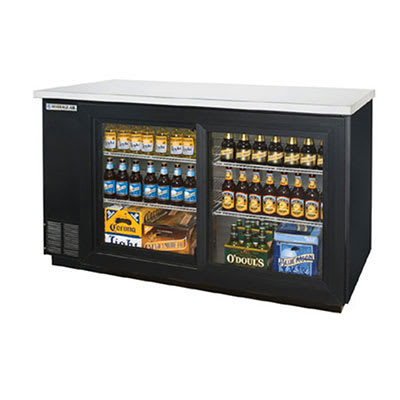 "Beverage Air BB58GSF-1-B 58"" (2) Section Bar Refrigerator - Sliding Glass Doors, 115v"