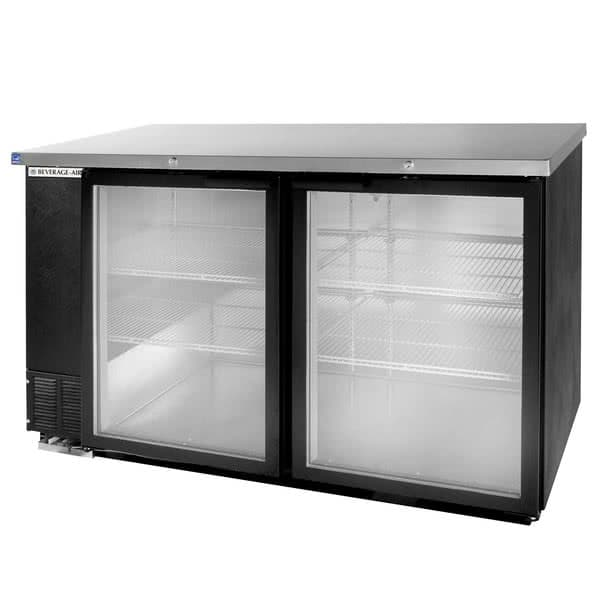 "Beverage Air BB58HC-1-FG-B 59"" (2) Section Bar Refrigerator - Swinging Glass Doors, 115v"
