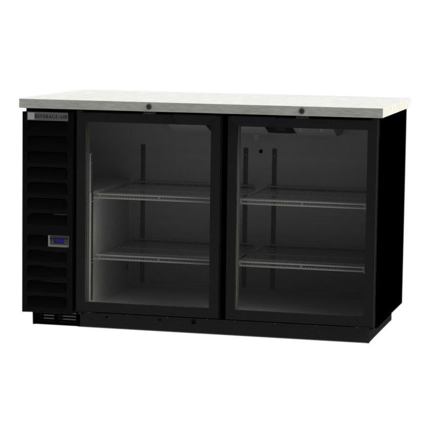 "Beverage Air BB58HC-1-FG-S 59"" (2) Section Bar Refrigerator - Swinging Glass Doors, 115v"