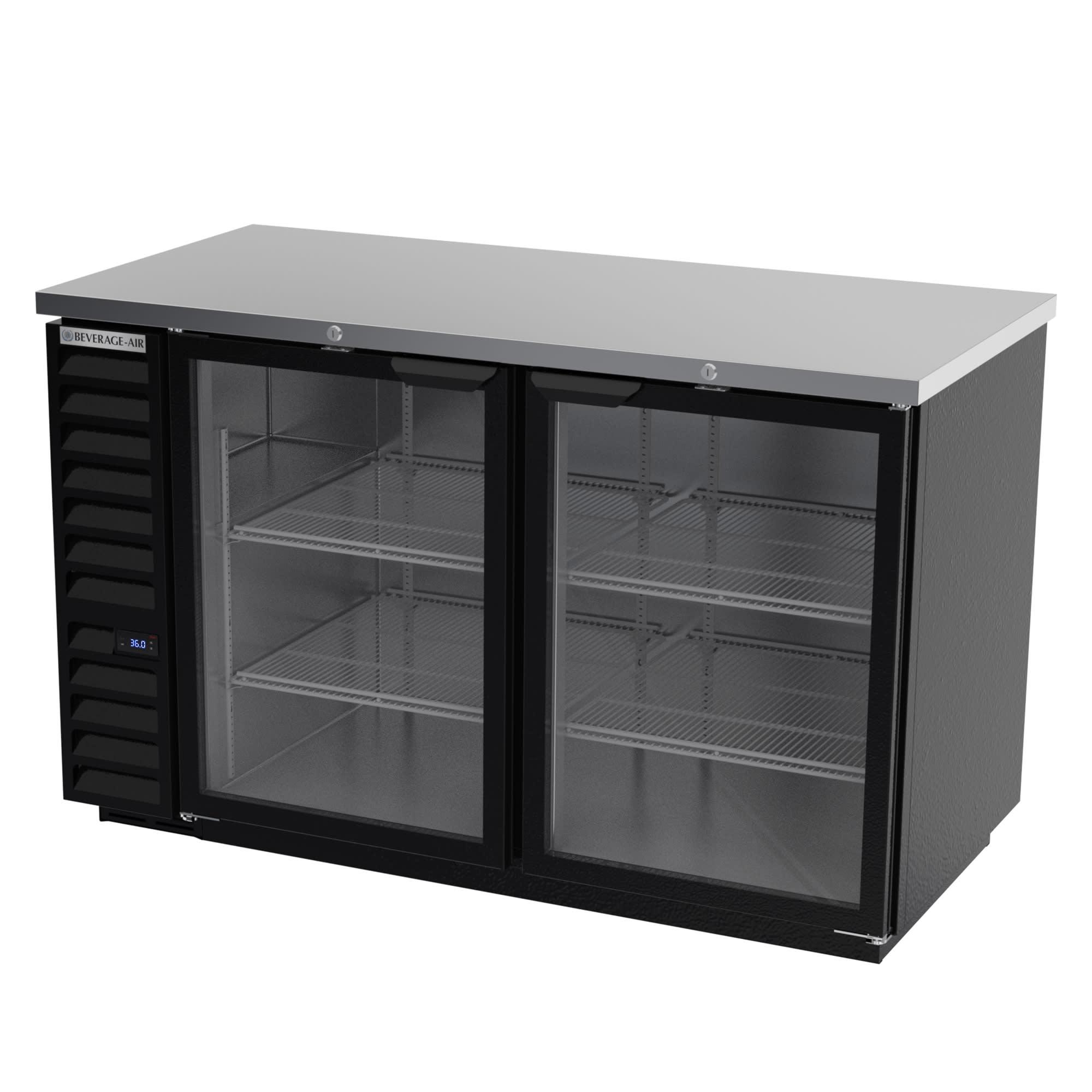 "Beverage Air BB58HC-1-G-B 59"" (2) Section Bar Refrigerator - Swinging Glass Door, 115v"