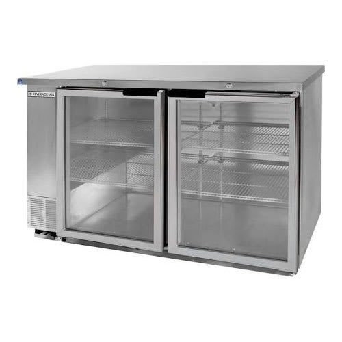 "Beverage Air BB58HC-1-G-S 59"" (2) Section Bar Refrigerator - Swinging Glass Doors, 115v"