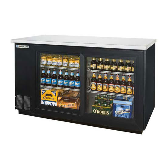 "Beverage Air BB58HC-1-GS-B 59"" (2) Section Bar Refrigerator - Sliding Glass Doors, 115v"