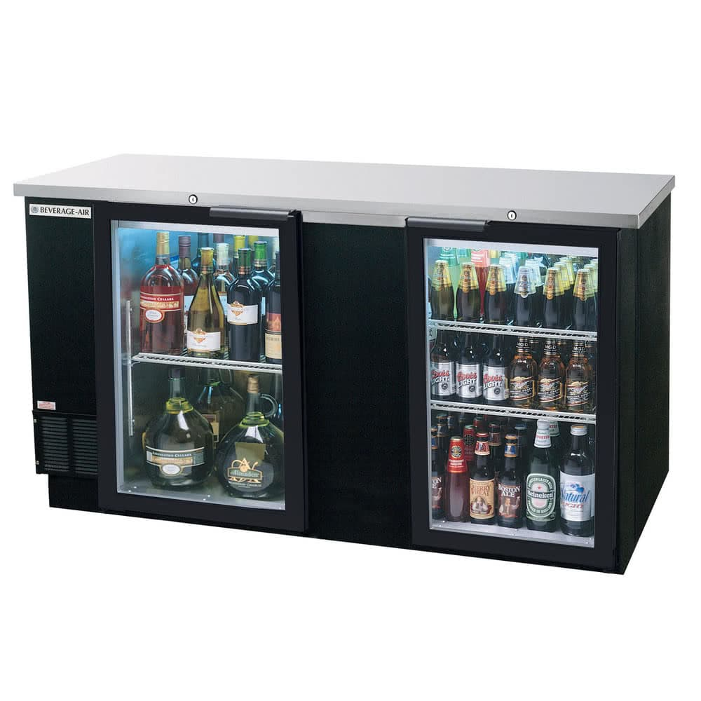 "Beverage Air BB68G-1-B 69"" (2) Section Bar Refrigerator - Swinging Glass Doors, 115v"