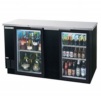 "Beverage Air BB68GF-1-S 68"" (2) Section Bar Refrigerator - Swinging Glass Doors, 115v"