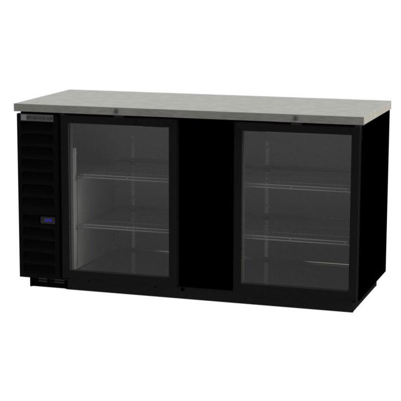 "Beverage Air BB68HC-1-FG-B 69"" (2) Section Bar Refrigerator - Swinging Glass Door, 115v"
