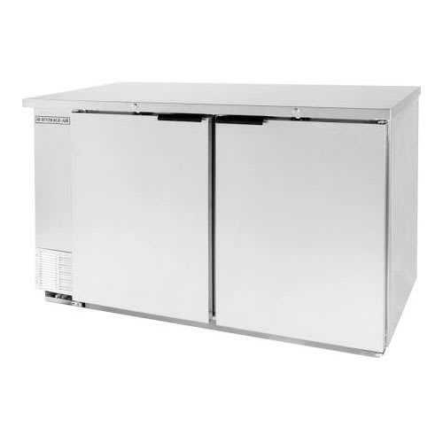 "Beverage Air BB68HC-1-S 69"" (2) Section Bar Refrigerator - Swinging Solid Doors, 115v"
