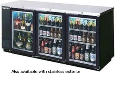 "Beverage Air BB72GSYF-1-B 72"" (3) Section Bar Refrigerator - Sliding Glass Doors, 115v"