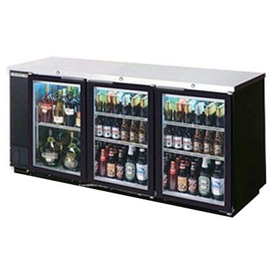 "Beverage Air BB72GSYF-1-B-27 72"" (3) Section Bar Refrigerator - Sliding Glass Doors, 115v"