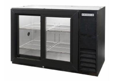"Beverage Air BB72GSYF-1-B-PT 72"" (3) Section Bar Refrigerator - Sliding Glass Doors, 115v"