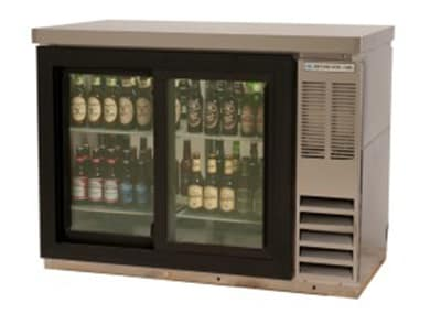 "Beverage Air BB72GSYF-1-S27-PT 72"" (3) Section Bar Refrigerator - Sliding Glass Doors, 115v"