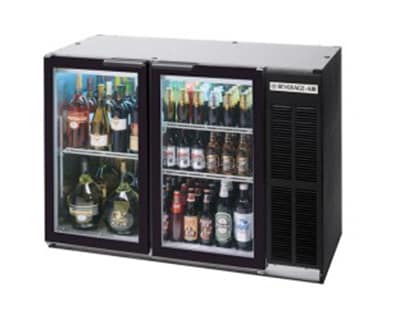"Beverage Air BB72GY-1-B-PT 72"" (3) Section Bar Refrigerator - Swinging Glass Doors, 115v"