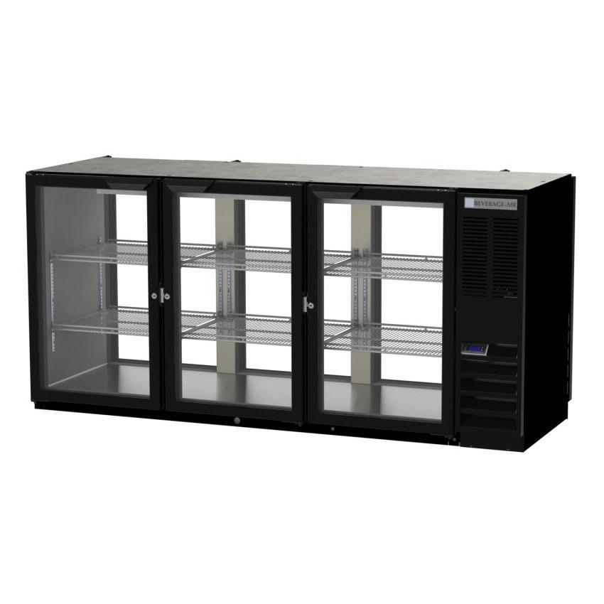 "Beverage Air BB72HC-1-F-G-PT-B-27 72"" (3) Section Bar Pass Thru Refrigerator - Swinging Glass Doors, 115v"