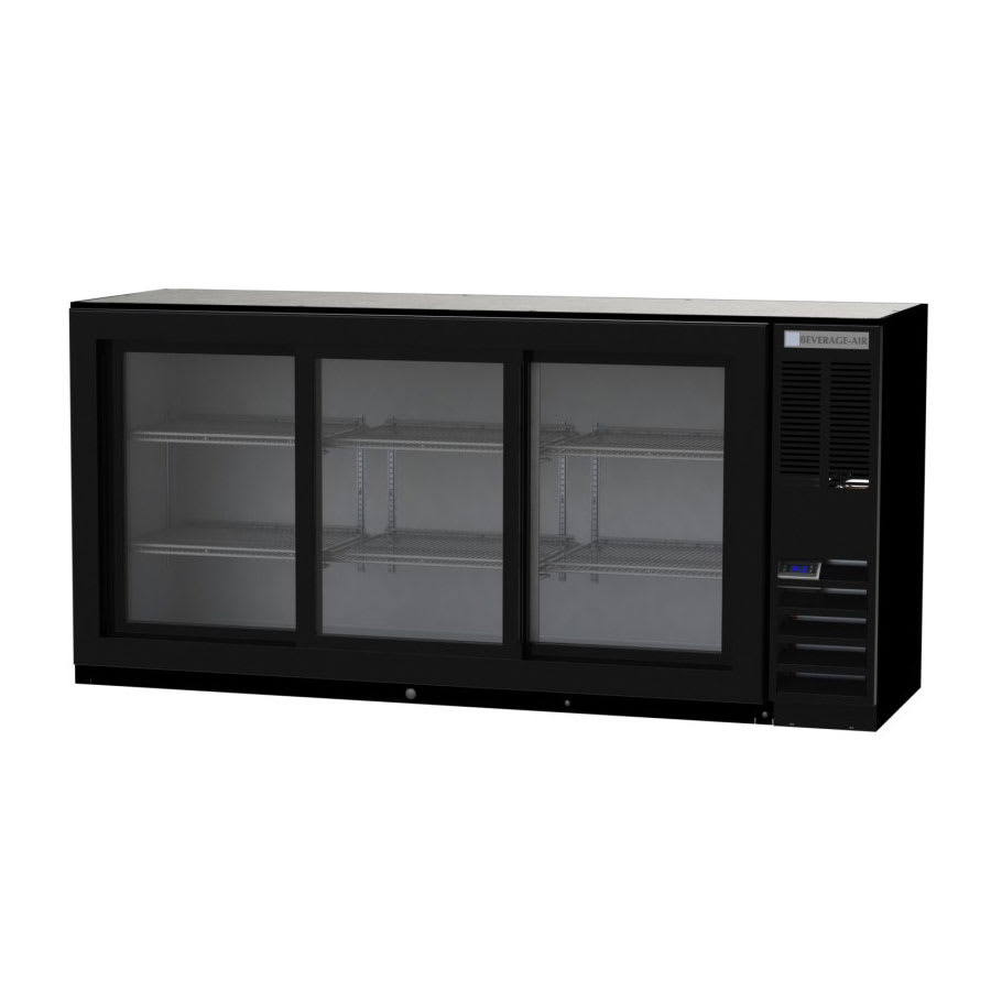 "Beverage Air BB72HC-1-F-GS-S 72"" (3) Section Bar Refrigerator - Sliding Glass Doors, 115v"