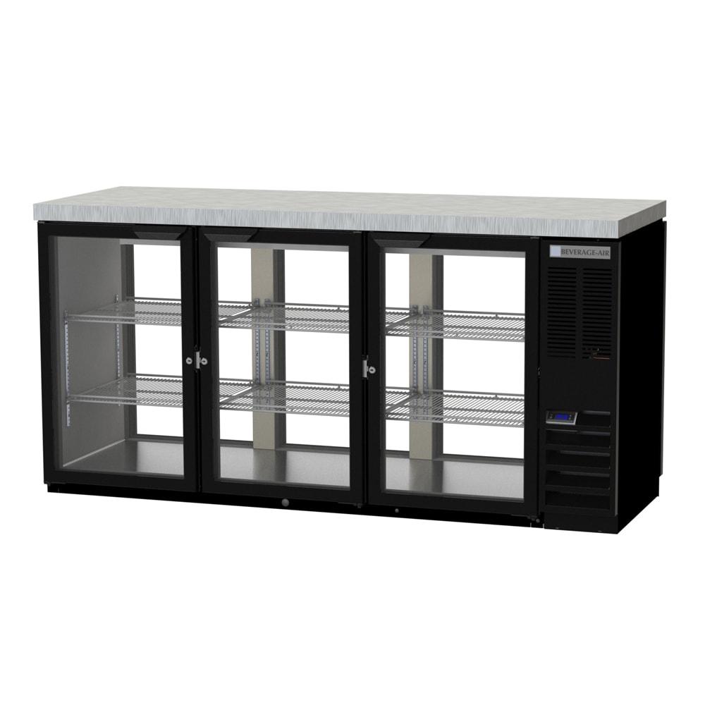 "Beverage Air BB72HC-1-G-PT-B-27 72"" (3) Section Bar Pass Thru Refrigerator - Swinging Glass Doors, 115v"