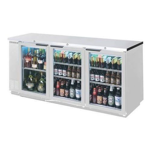 "Beverage Air BB72HC-1-G-S 72"" (3) Section Bar Refrigerator - Swinging Glass Doors, 115v"