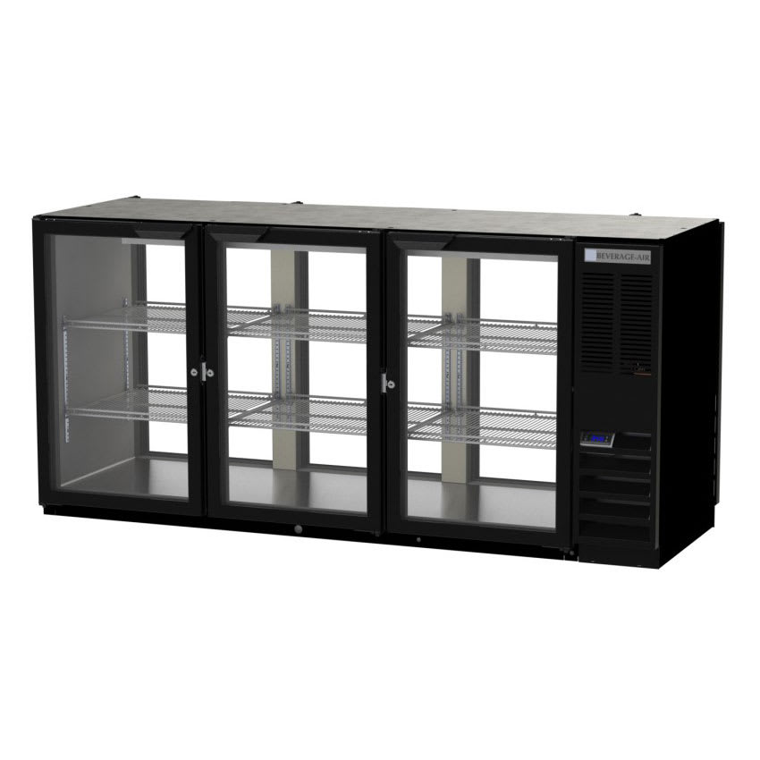 "Beverage Air BB72HC-1-GS-F-PT-B-27 72"" (3) Section Pass Thru Bar Refrigerator - Sliding Glass Doors, 115v"