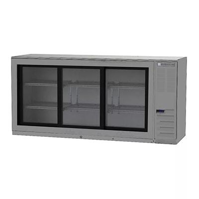 "Beverage Air BB72HC-1-GS-S 72"" (3) Section Bar Refrigerator - Sliding Glass Doors, 115v"