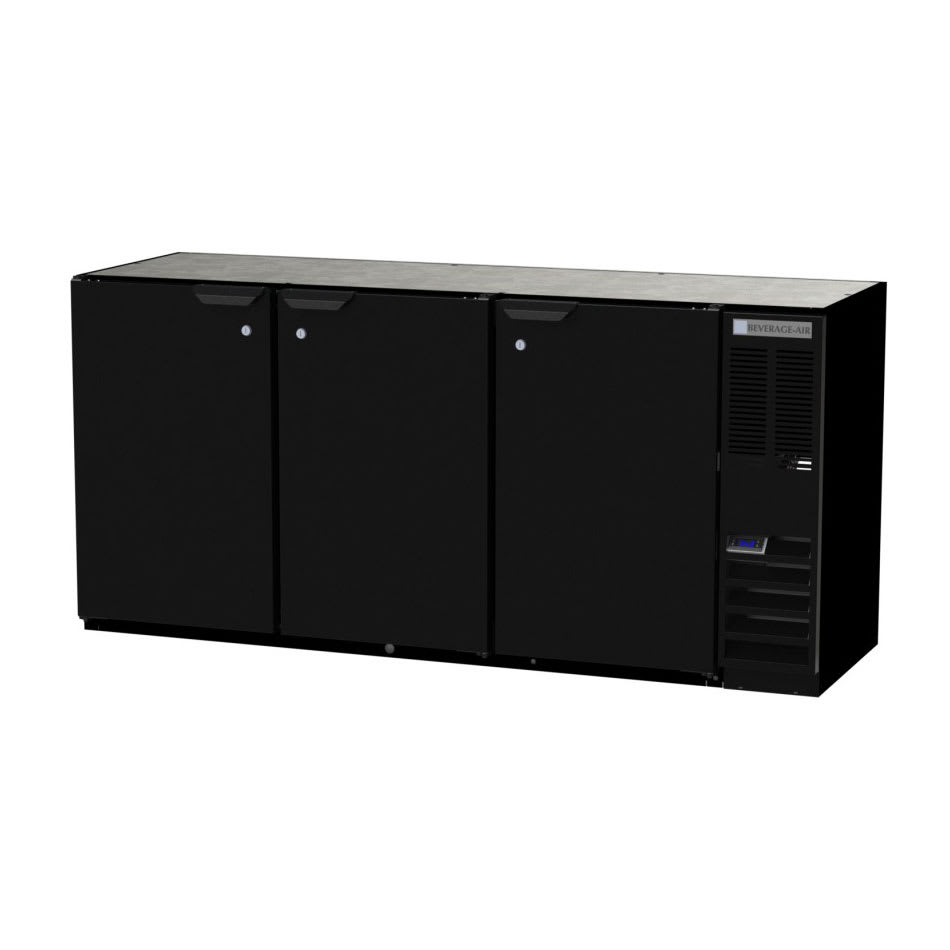 "Beverage Air BB72HC-1-PT-S 72"" (3) Section Bar Pass Thru Refrigerator - Swinging Solid Doors, 115v"