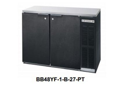 "Beverage Air BB72YF-1-B-27-PT 72"" (3) Section Bar Refrigerator - Swinging Solid Doors, 115v"
