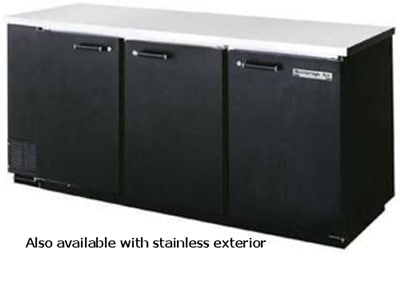 "Beverage Air BB78F-1-B-PT 78"" (3) Section Bar Refrigerator - Swinging Solid Doors, 115v"