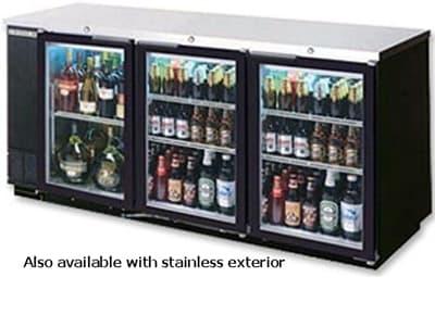"Beverage Air BB78GF-1-S-PT 78"" (3) Section Bar Refrigerator - Swinging Glass Doors, 115v"