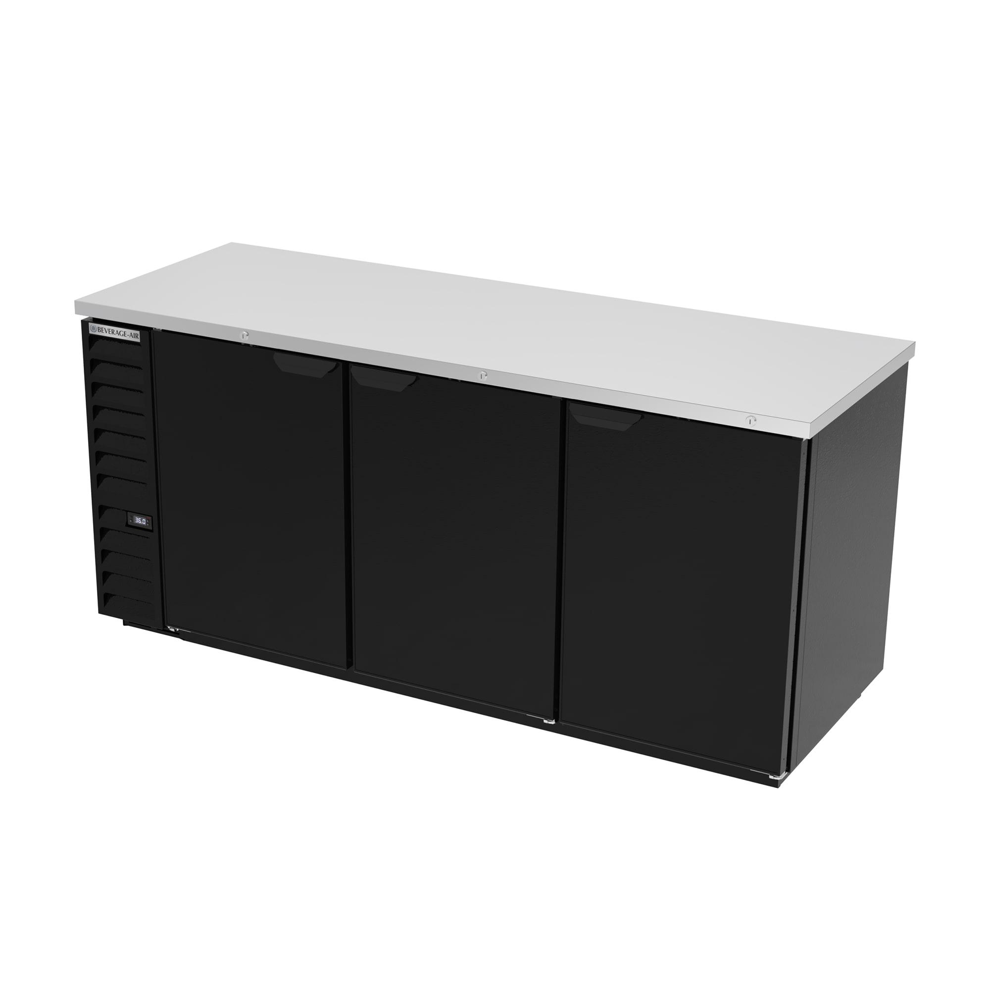 "Beverage Air BB78HC-1-B 79"" (3) Section Bar Refrigerator - Swinging Solid Door, 115v"