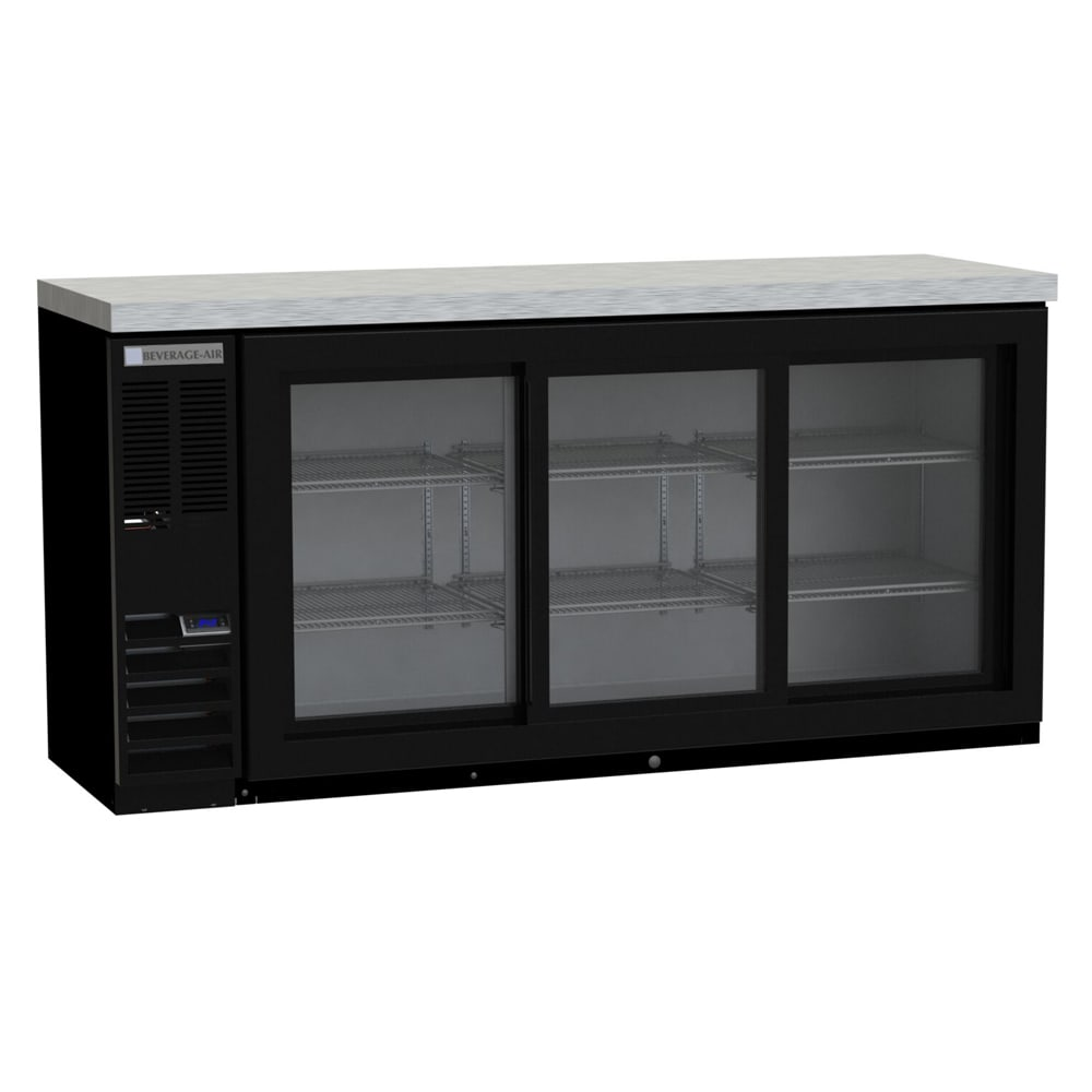 "Beverage Air BB78HC-1-FG-B 72"" (3) Section Bar Refrigerator - Swinging Glass Doors, 115v"