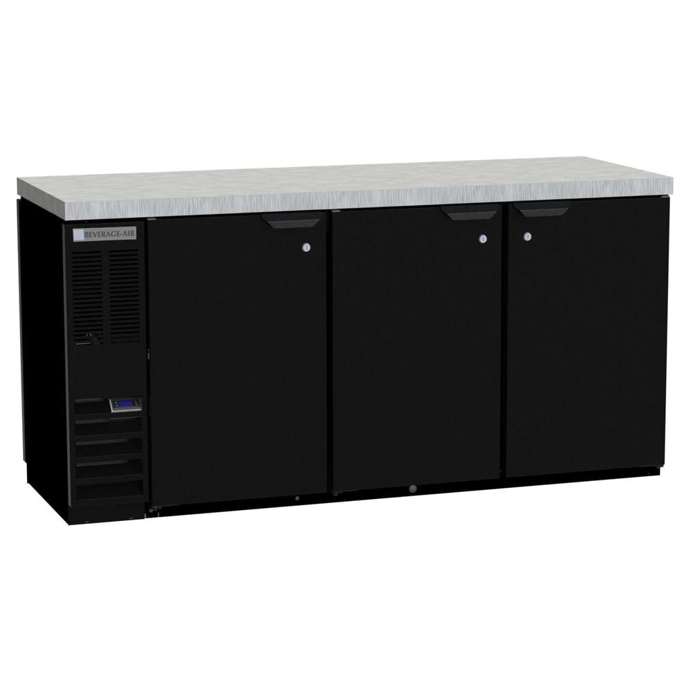 "Beverage Air BB78HC-1-F-S 72"" (3) Section Bar Refrigerator - Swinging Solid Doors, 115v"