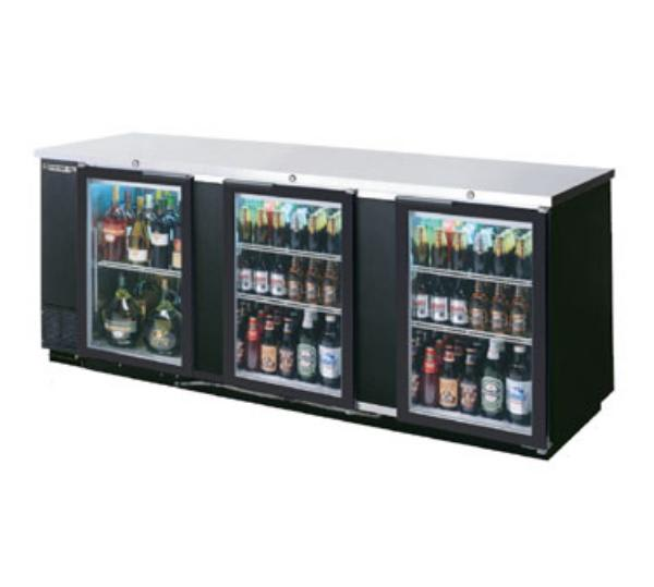 "Beverage Air BB94G-1-B 94"" (3) Section Bar Refrigerator - Swinging Glass Doors, 115v"