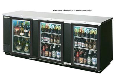 "Beverage Air BB94G-1-B-PT 94"" (3) Section Bar Refrigerator - Swinging Glass Doors, 115v"