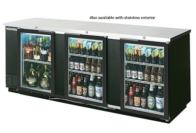 "Beverage Air BB94G-1-S-PT 94"" (3) Section Bar Refrigerator - Swinging Glass Doors, 115v"