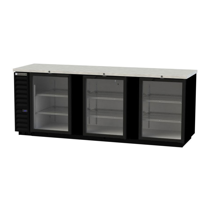 "Beverage Air BB94HC-1-G-B 95"" (3) Section Bar Refrigerator - Swinging Glass Door, 115v"