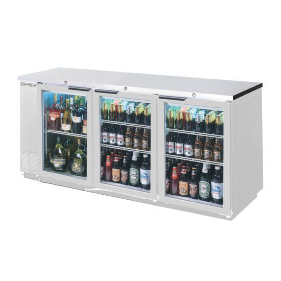"Beverage Air BB94HC-1-G-S 95"" (3) Section Bar Refrigerator - Swinging Glass Doors, 115v"