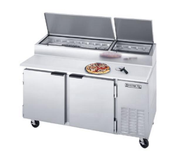"Beverage Air DP67 67"" Pizza Prep Table w/ Refrigerated Base, 115v"