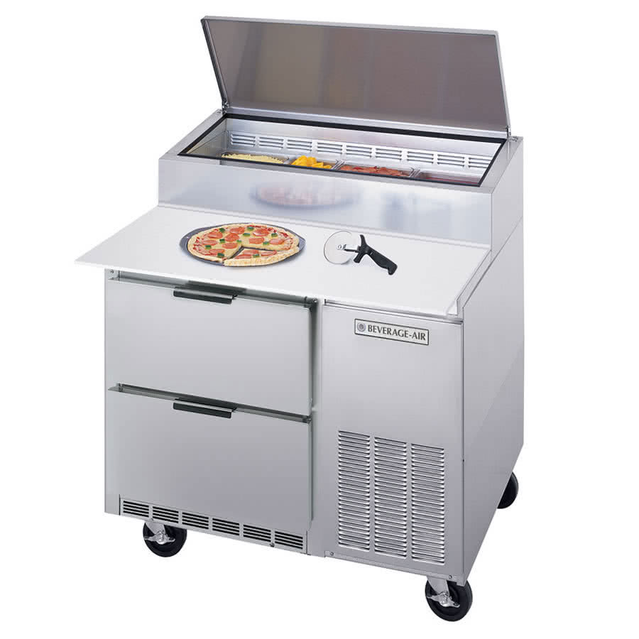 "Beverage Air DPD46-2 46"" Pizza Prep Table w/ Refrigerated Base, 115v"