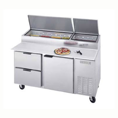 "Beverage Air DPD67-2 67"" Pizza Prep Table w/ Refrigerated Base, 115v"