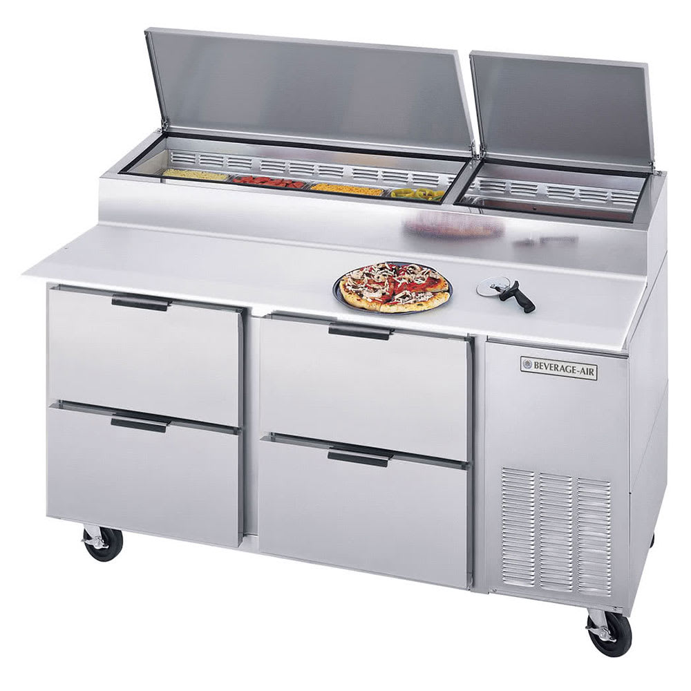 """Beverage Air DPD67-4 67"""" Pizza Prep Table w/ Refrigerated Base, 115v"""