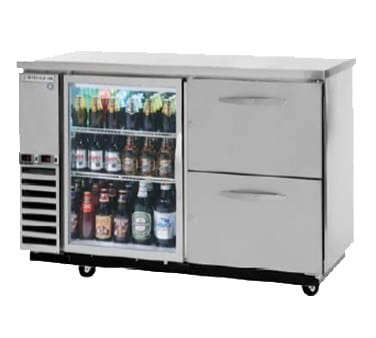 "Beverage Air DZ58G-1-B-PWD 59"" Swinging Glass Door Bar Refrigerator, 2 Section, Wine Drawers, Black, 115v"