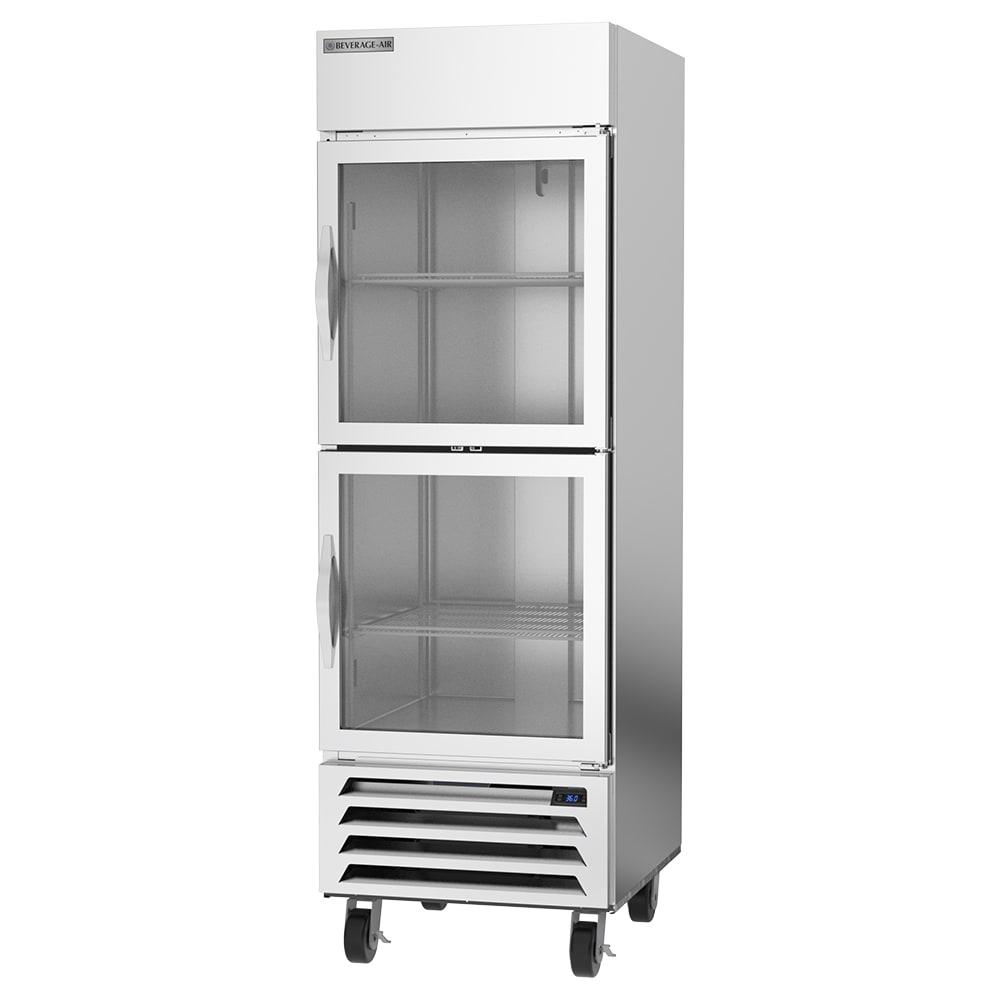 "Beverage Air HBR23HC-1-HG 27.25"" Single Section Reach-In Refrigerator, (2) Glass Door, 115v"