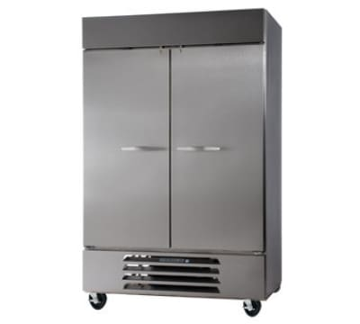 """Beverage Air HBR49-1-S 52"""" Two Section Reach-In Refrigerator, (2) Solid Door, 115v"""